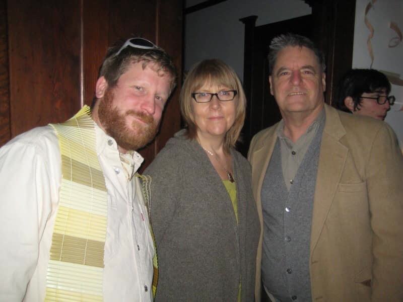 "Scott Hewicker, Dodie Bellamy and Kevin Killian at Craig Goodwin's annual Scorpio party, 2008. The theme was ""beige."""