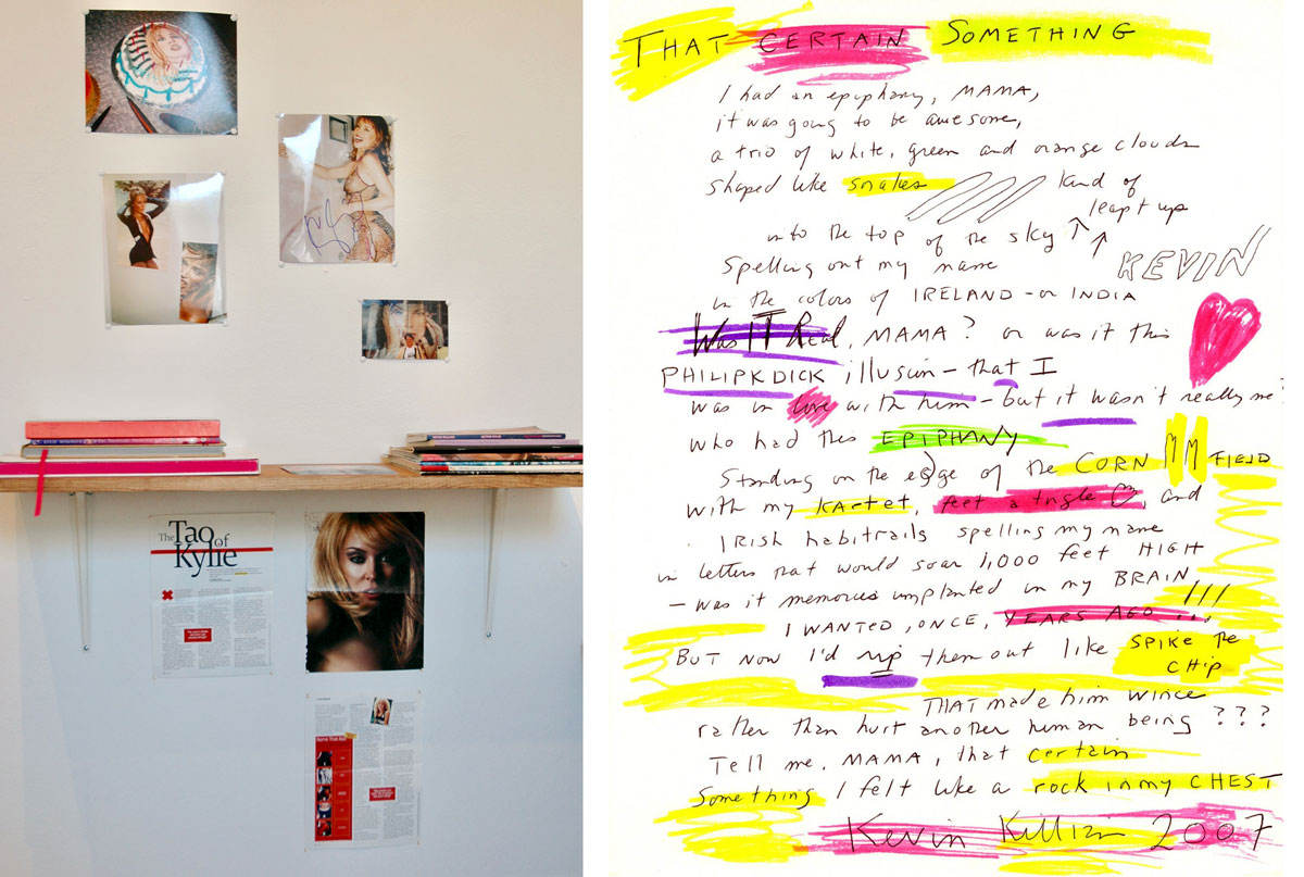 "Kevin Killian's shelf of Kylie Minogue memorabilia, fan fiction and incantations in 'Lending Library,' Adobe Books Backroom Gallery, 2010; and a poem by Killian that functioned as a takeaway ""catalog"" for the show."