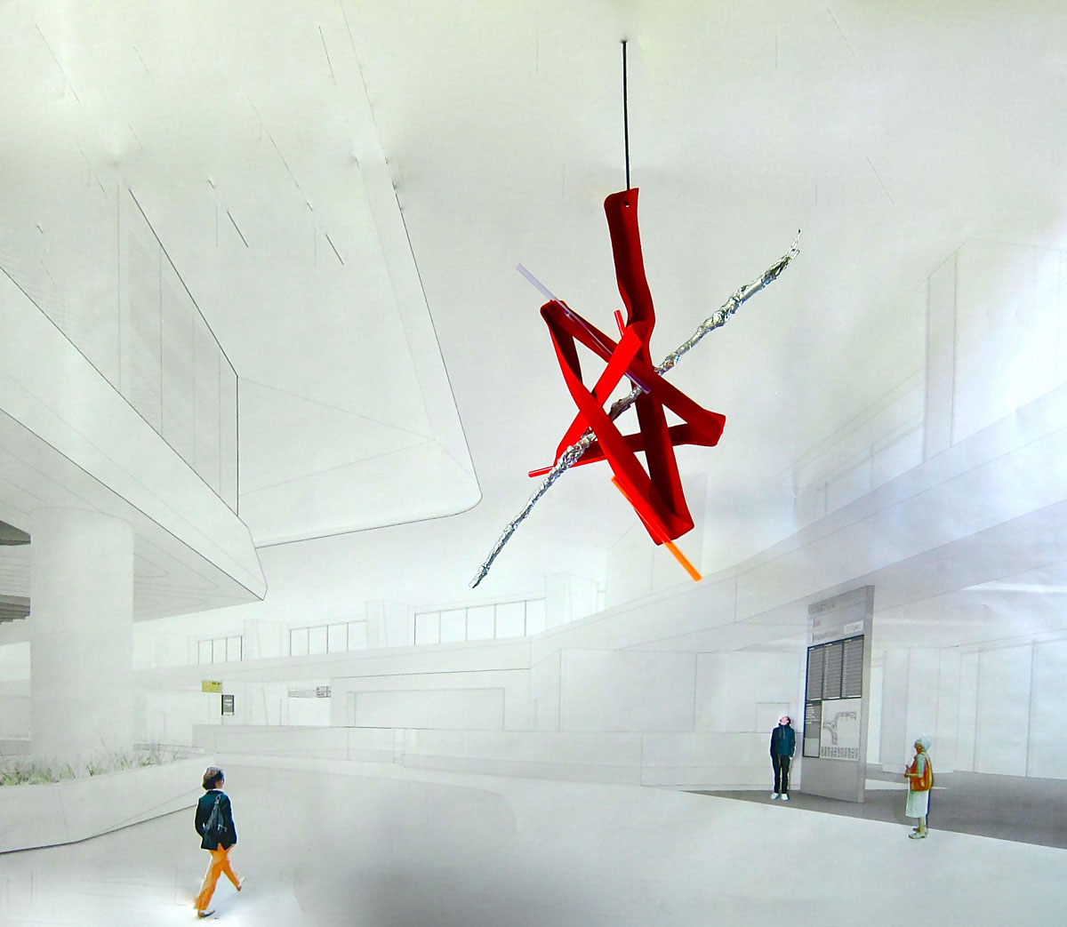 Rendering of Mark Handforth's ' Cadmium Red Giant' in Harvey Milk Terminal 1, SFO.