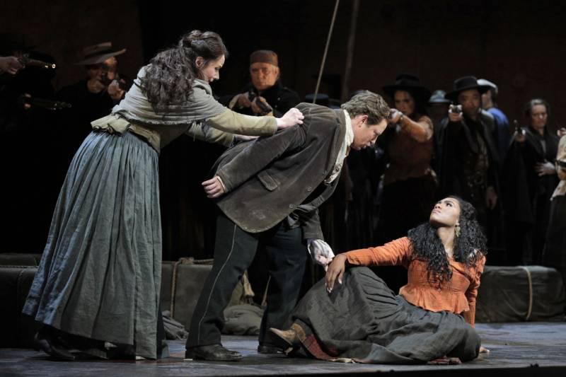 Anita Hartig as Micaëla, Matthew Polenzani as Don José and J'nai Bridges as Carmen in San Francisco Opera's production of 'Carmen.'