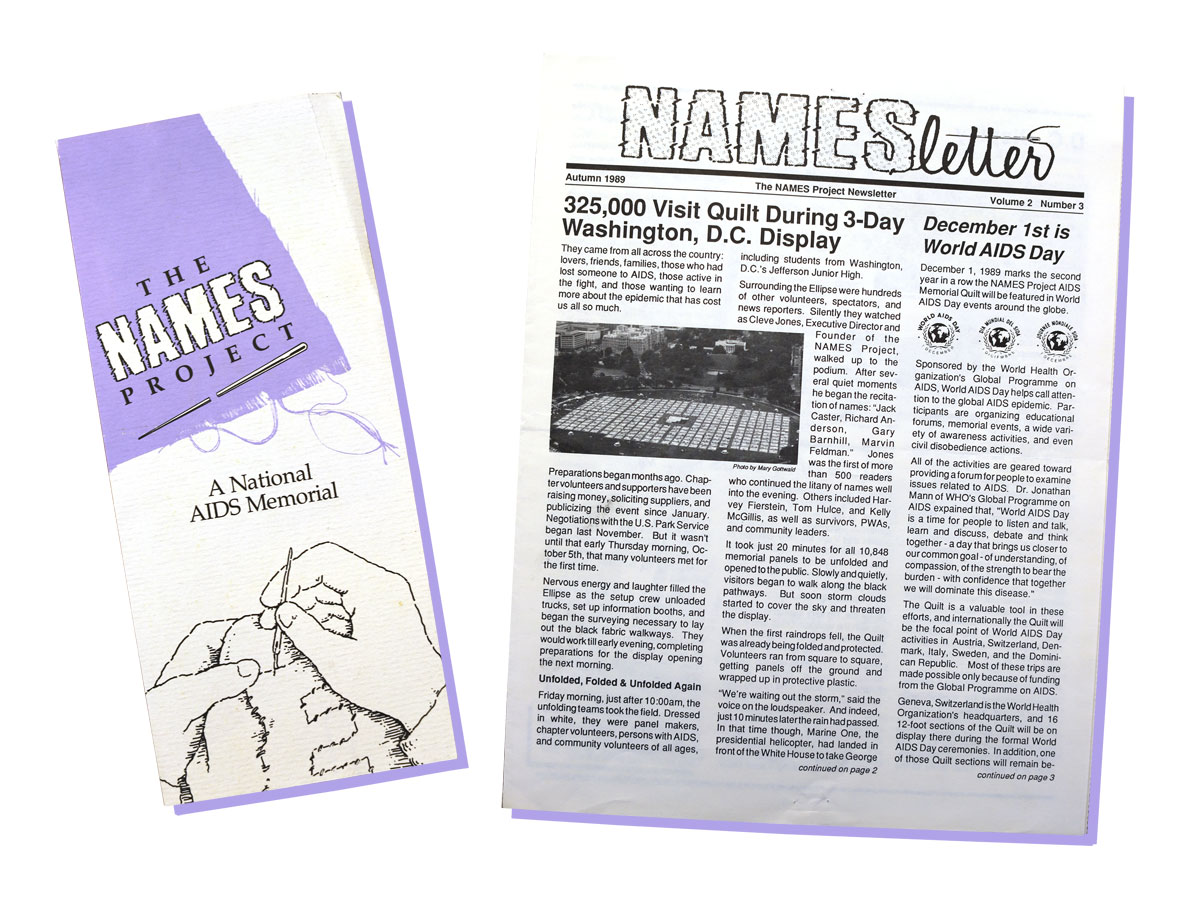 A NAMES Project flyer from 1988 and the NAMES newsletter from fall 1989.
