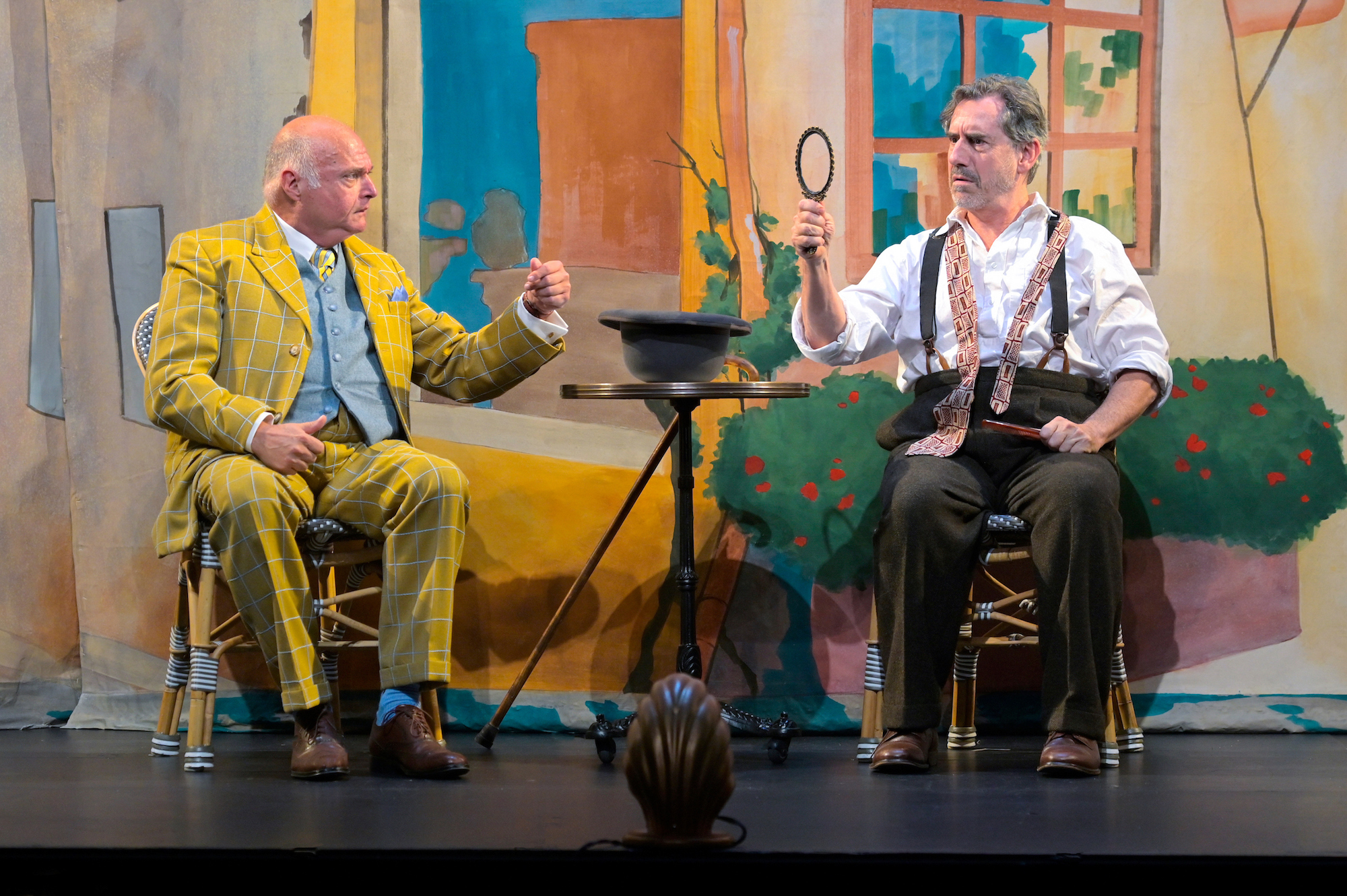Matt DeCaro as Gene and David Breitbarth as Berenger in 'Rhinoceros' at A.C.T.