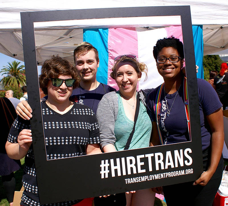 The SF LGBT center promotes its trans employment resource program at the 2017 Trans March.