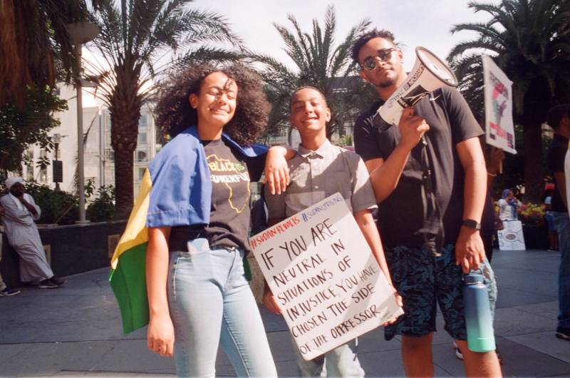 Young protesters gather at a San Francisco rally to support the Sudanese revolution.