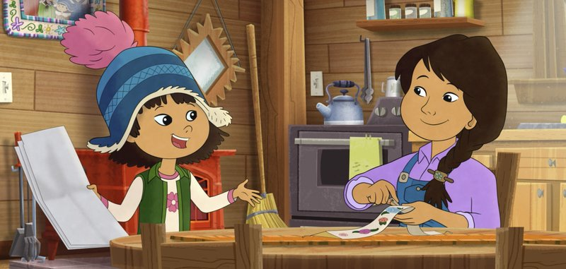 "This image released by PBS shows characters Molly, voiced by Sovereign Bill, left, and her mother, voiced by Jules Koostachin in a scene from the animated series ""Molly of Denali."" The animated show, which highlights the adventures of a 10-year-old Athabascan girl, Molly Mabray, premieres July 15 on PBS Kids."