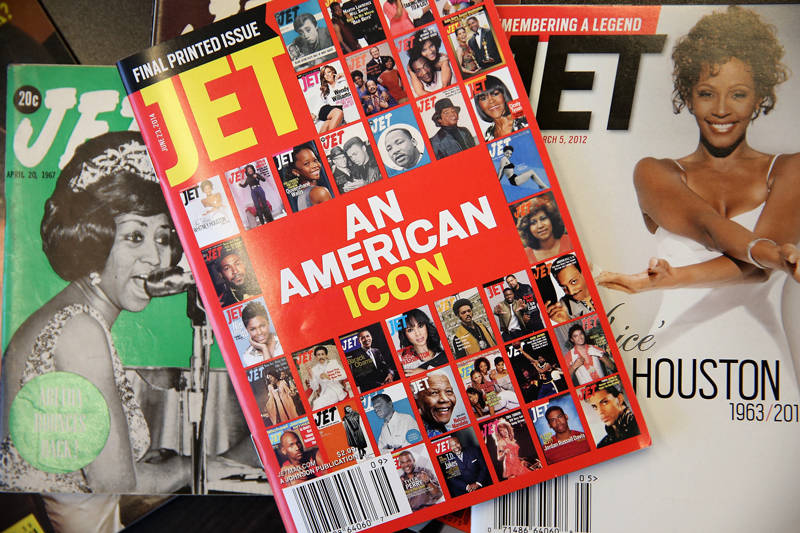 "The final print edition of JET magazine with a cover declaring it ""An American Icon"" is displayed with vintage copies of the magazine at the offices of Johnson Publishing Company, which publishes the magazine, on June 9, 2014 in Chicago, Illinois."