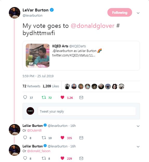 LeVar Burton's response