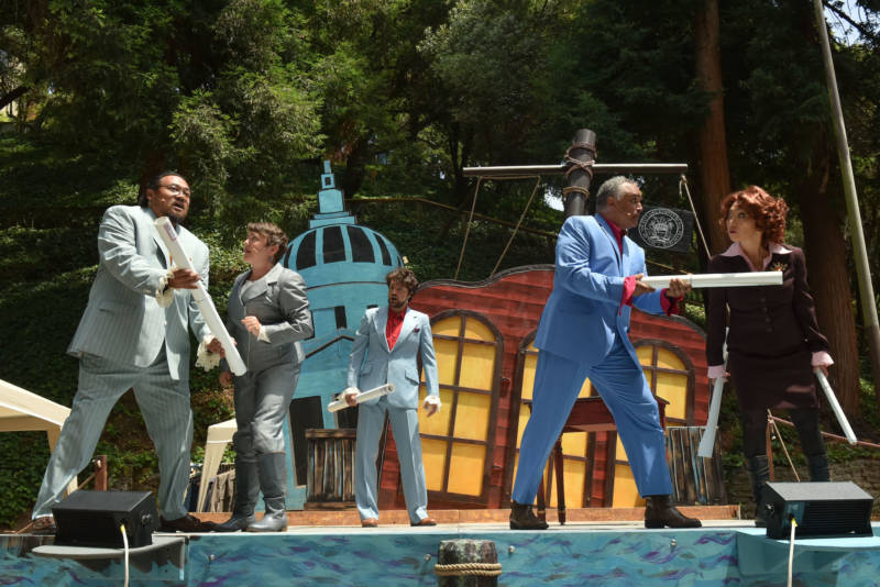 (L-R) Brian Rivera, Lizzie Calogero, Andre Amarotico, Michael Gene Sullivan, and Keiko Shimosato Carreiro in the San Francisco Mime Troupe's 'Treasure Island.'