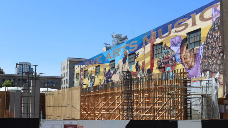 """Universal Language,"" a mural depicting Oakland's black performing arts heritage, will soon be completely obscured."