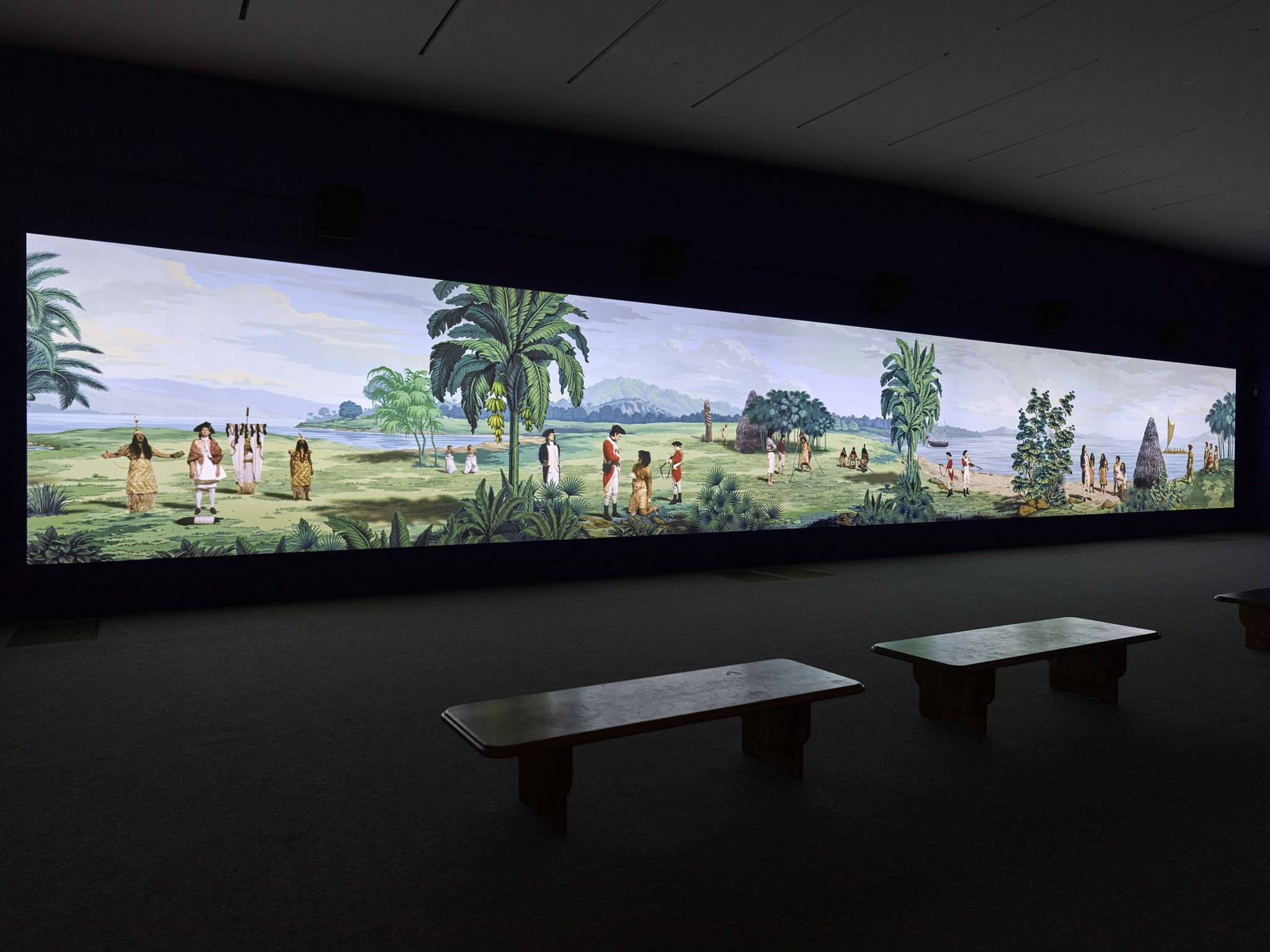 Lisa Reihana, Installation view of 'in Pursuit of Venus [infected],' at de Young Museum, 2019.