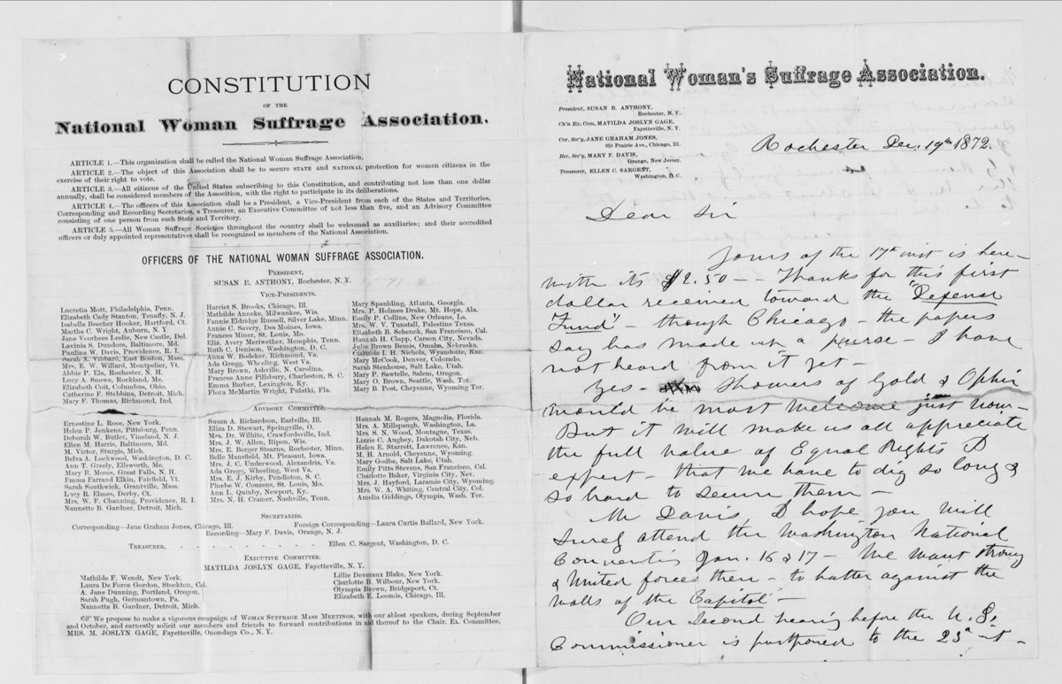 The Constitution of the National Women Suffrage Association and a 1872 letter from Susan B. Anthony, in the volume Correspondence, 1846-1905.