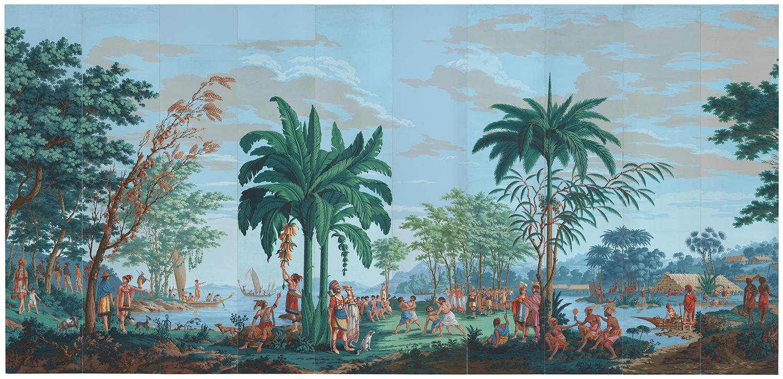 Joseph Dufour et Cie (printer) and Jean Gabriel Charvet (designer), 'Les Sauvages de la Mer Pacifique,' ca. 1804–1806.