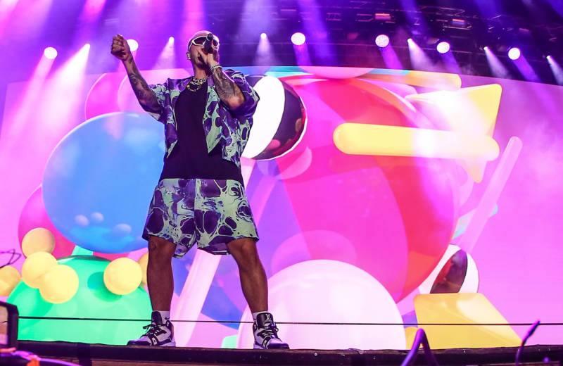 J Balvin performs on stage at concert sponsored by Guess at Kucukciftlik Park on July 26, 2019 in Istanbul, Turkey.