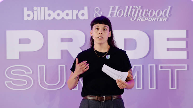 "Terra Lopez speaks onstage at the ""Emerging Artists: We See You"" panel during the Billboard And The Hollywood Reporter Pride Summit on August 08, 2019 in West Hollywood, California."