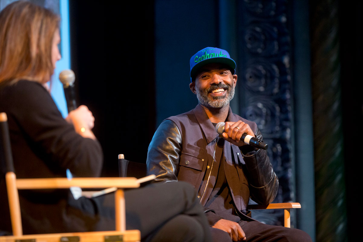 Kahlil Joseph speaking with Rachel Kushner at the 2019 San Francisco International Film Festival.