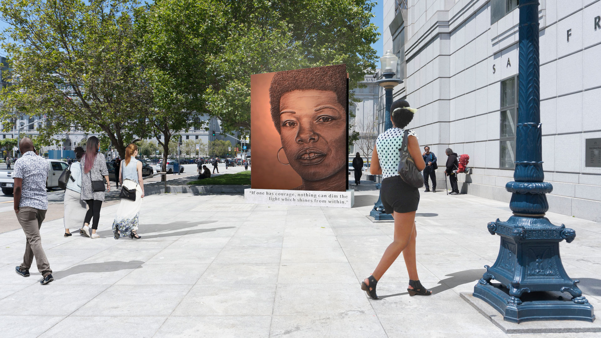 A rendering of Lava Thomas' proposed monument to Maya Angelou, 'Portrait of a Phenomenal Woman,' outside the SFPL main branch.