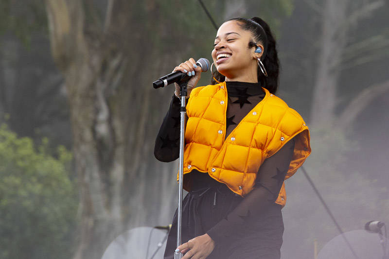 Ella Mai performs at Outside Lands music festival in San Francisco, Aug. 10, 2019.