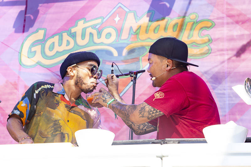 Anderson .Paak and Roy Choi cook vegan dishes at the Outside Lands GastroMagic stage on Aug. 11,2019.