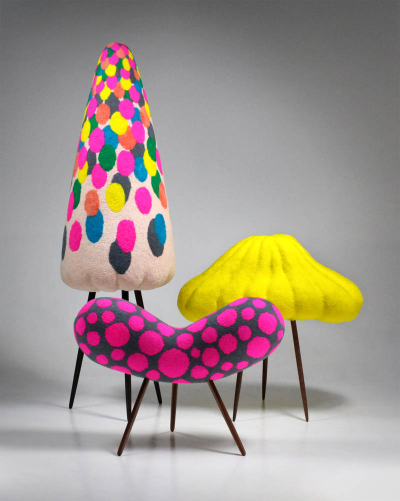 Karakasa-obake (umbrella ghost); Ungaikyo (possessed mirror); and Kinoko (mushroom ghost); wool on foam, walnut and wenge wood. (courtesy of Masako Miki and CULT Aimee Friberg Exhibitions)