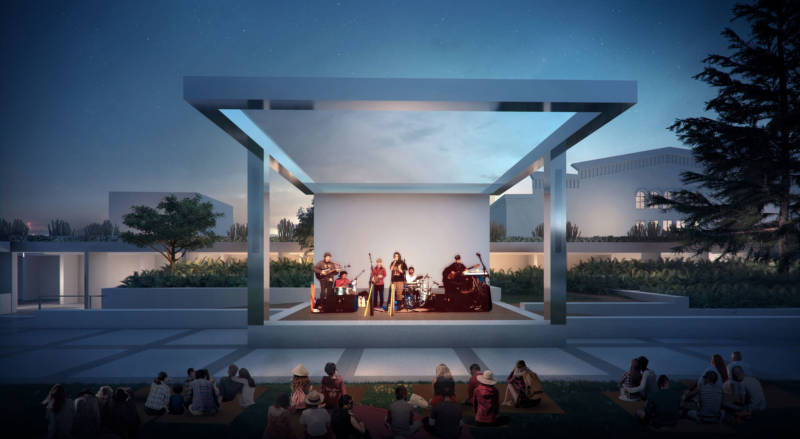 Rendering shows an outdoor stage for programming such as OMCA's Friday Nights series.