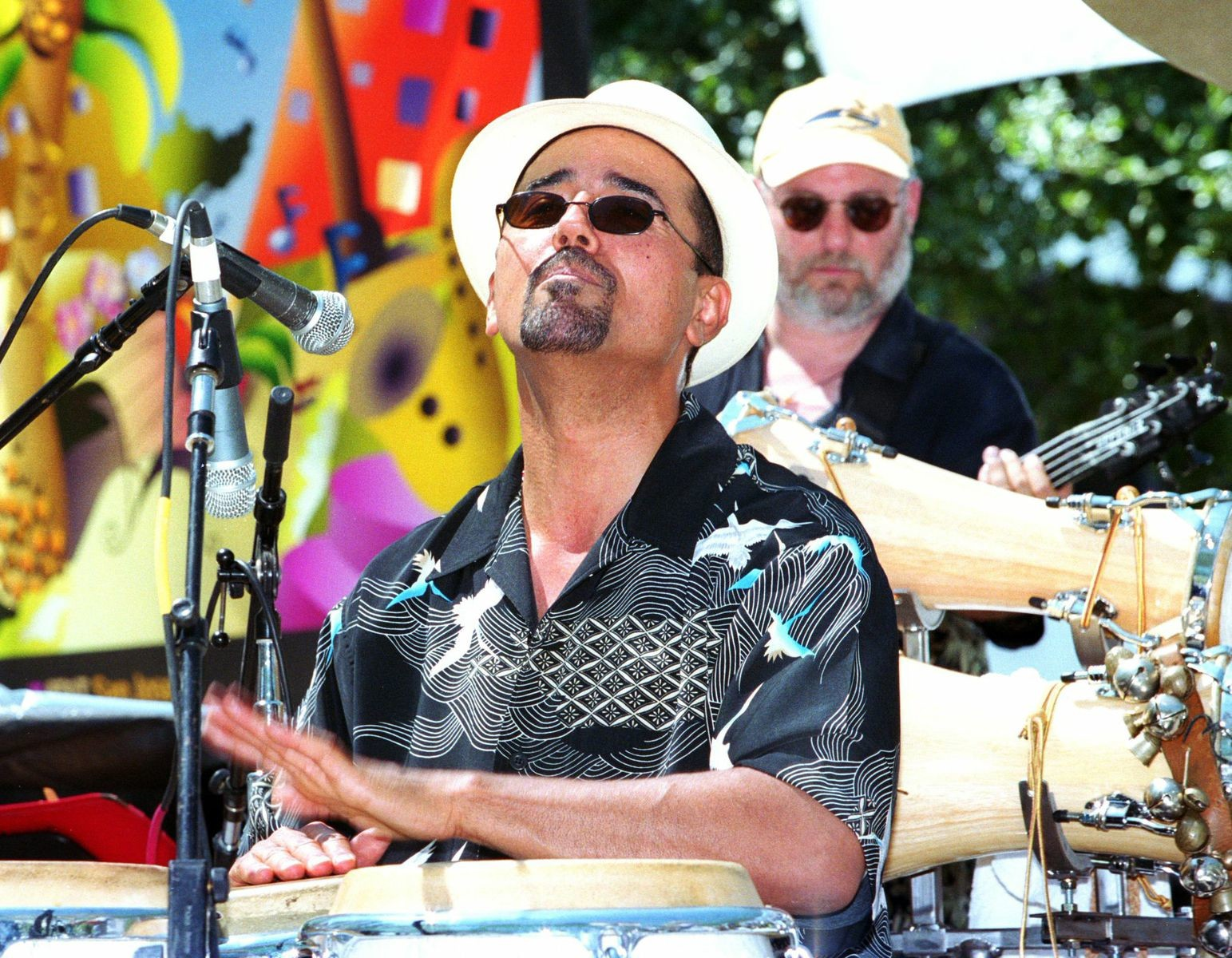 John Santos with the Machete Ensemble at the 2002 San Jose Jazz Summer Fest.