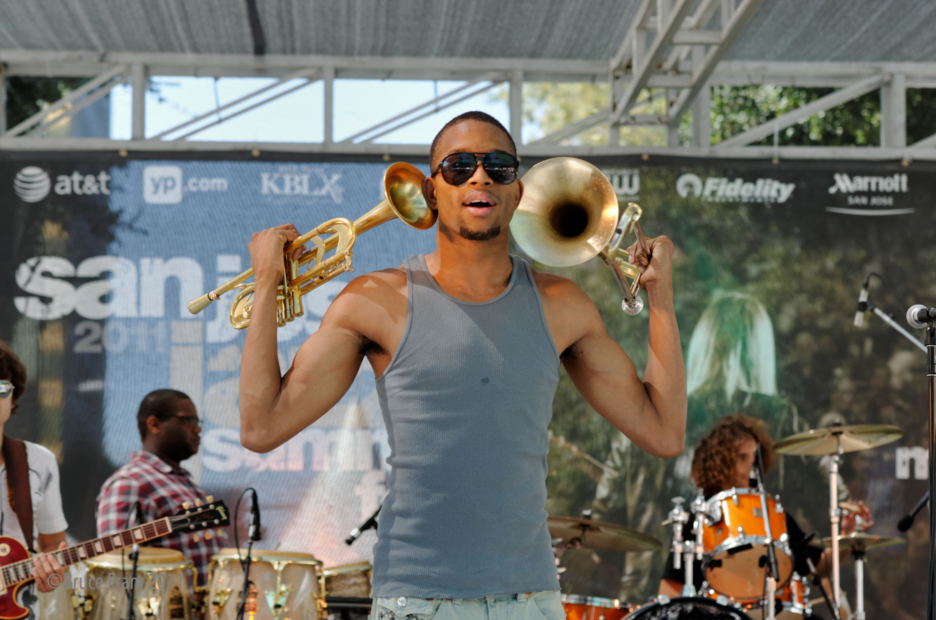 Trombone Shorty and Orleans Avenue during the 2011 San Jose Jazz Summer Fest.