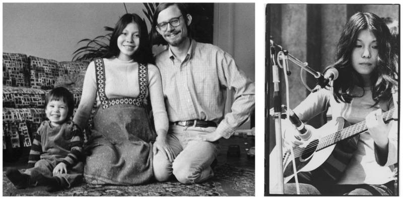 Sachiko Kanenobu with husband Paul Williams and her first child (L); Kanenobu performing in the 1970s (R).