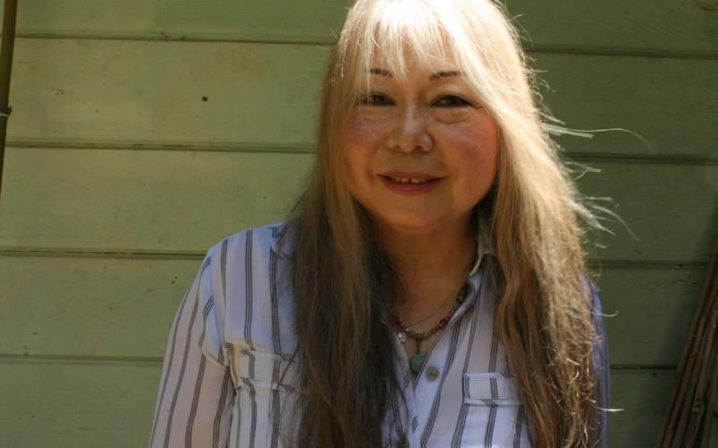 Sachiko Kanenobu in her Glen Ellen backyard.