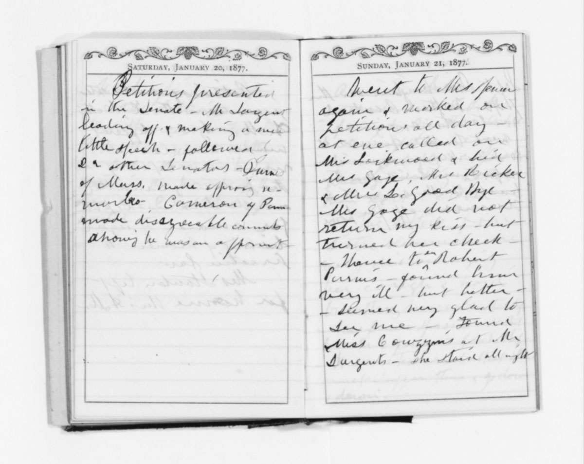 Susan B. Anthony's diary entries for Jan. 20–21, 1877.