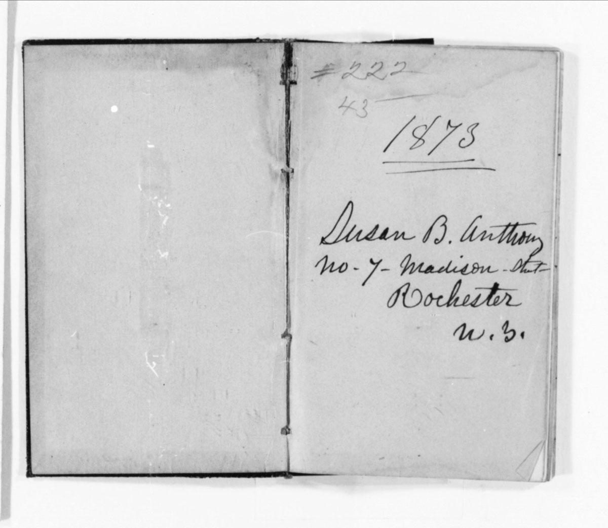 From Susan B. Anthony's papers, the first page of her 1873 diary.