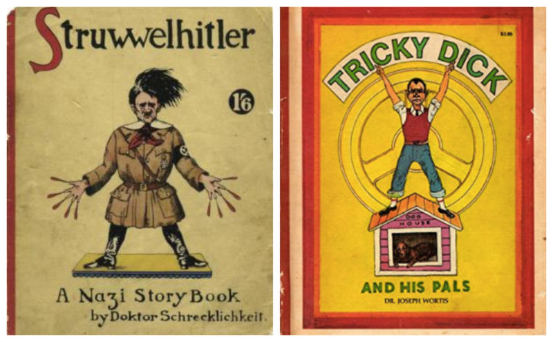 L: Robert and Philip Spence's war-time parody. R: 1974's 'Tricky Dick and his pals: Comical stories, all in the manner of Dr. Heinrich Hoffmann's Der Struwwelpeter' by Joseph Wortis.