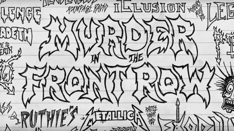 """Art by M. Wartella, based on """"classic hand-drawn metal posters,"""" as featured in the documentary, 'Murder in the Front Row.'"""