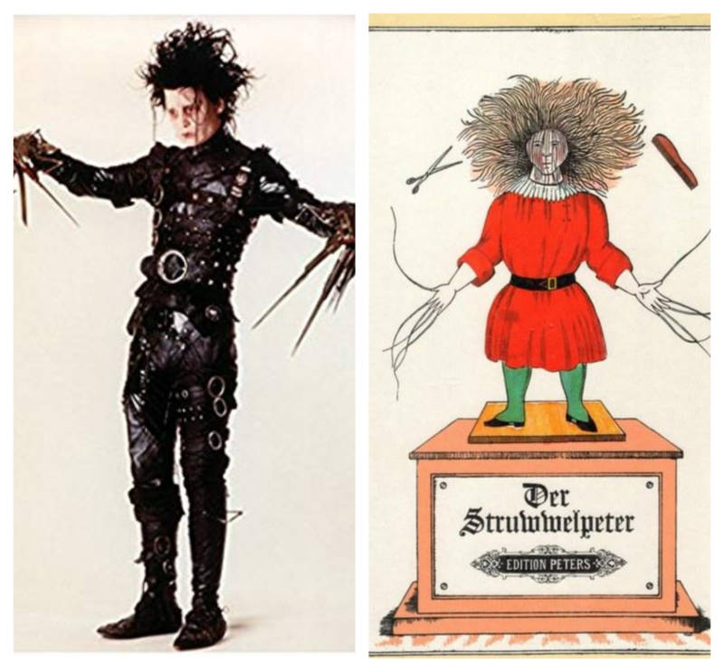 Edward Scissorhands bears a striking resemblance to Shock-Headed Peter.