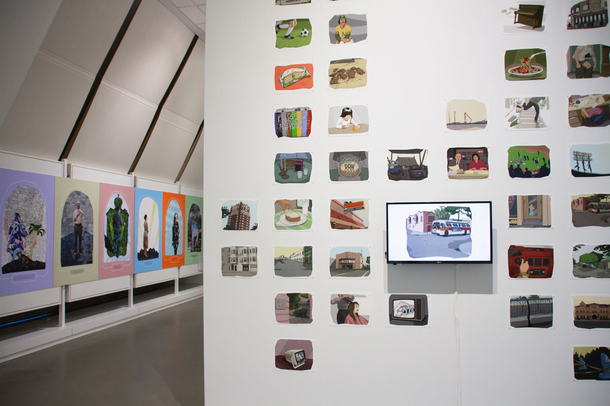 Installation view of 'Task of Remembrance,' with work by Sofía Córdova (L) and Jenifer Wofford (R).