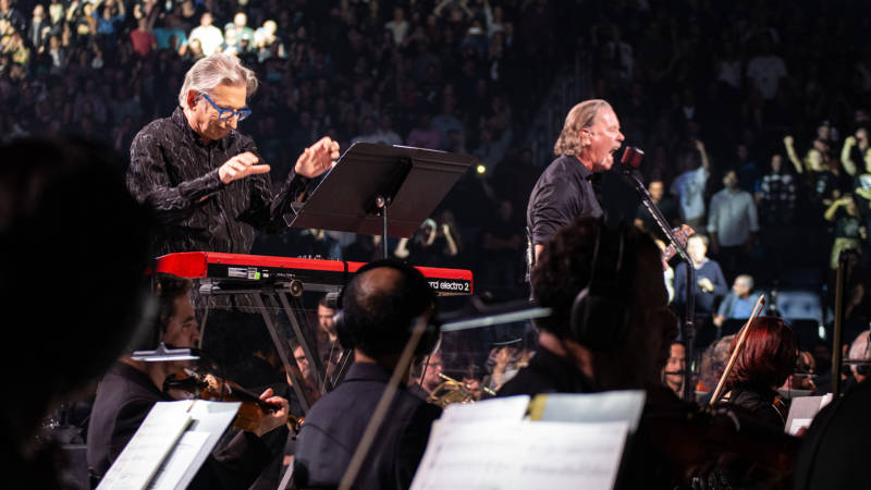 Michael Tilson Thomas conducts the San Francisco Symphony and Metallica at the Chase Center's inaugural concert on Sept. 9.