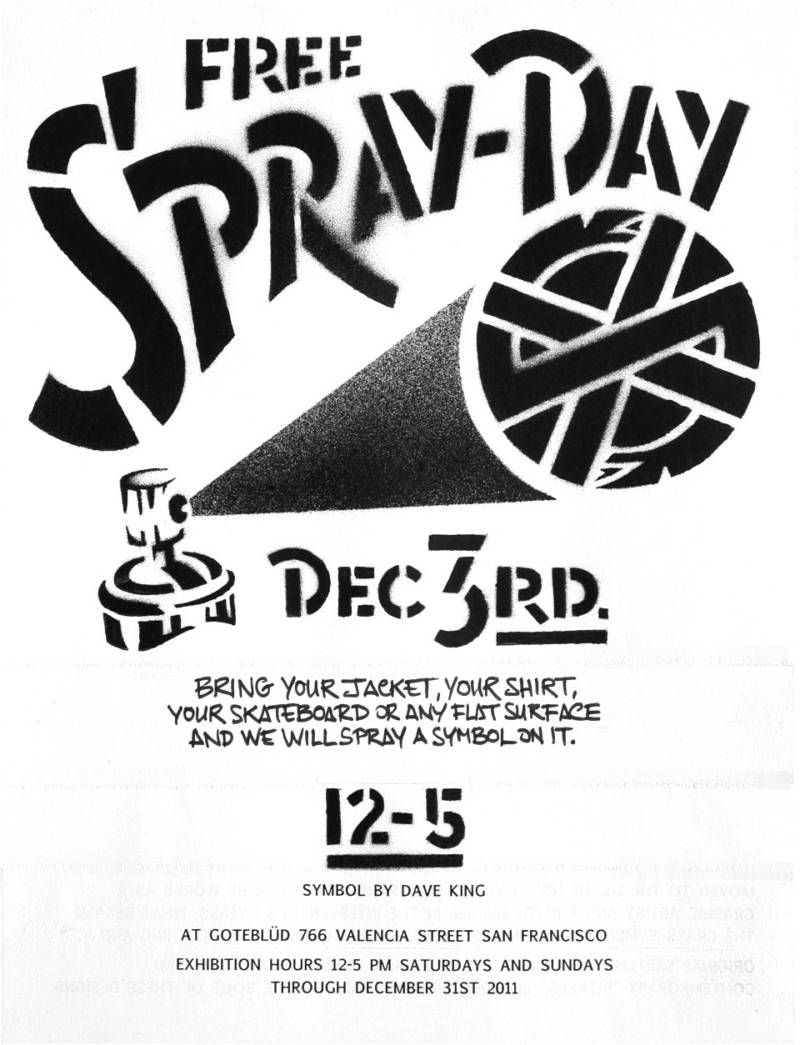"Flyer advertising a ""spray day"" as part of David King's Goteblüd exhibition in 2011."
