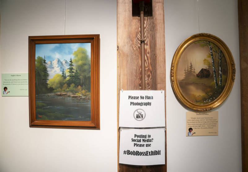 'Happy Accidents: An Exhibit of Bob Ross Paintings' will be on display the Franklin Parks Art Center, in Purcellville, Va., through Oct. 15.