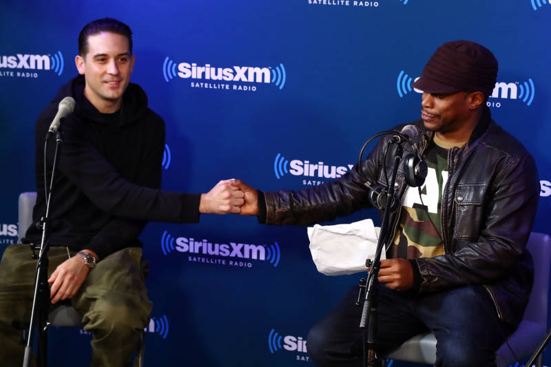 "G-Eazy talks with SiriusXM host Sway Calloway during G-Eazy's album premiere special for ""The Beautiful & Damned"" on SiriusXM's Shade 45 channel on December 5, 2017 in New York City."