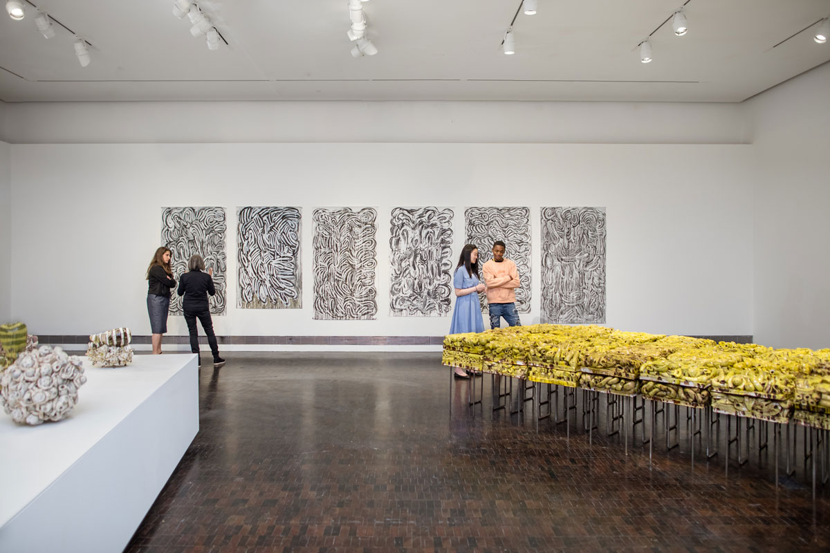 Installation view of 'Annabeth Rosen: Fired, Broken, Gathered, Heaped' at the Contemporary Jewish Museum, 2019.