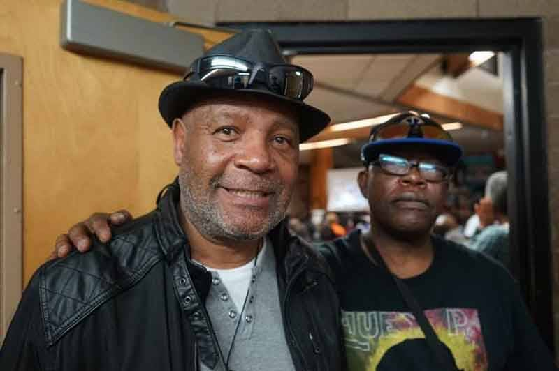 Black Panther Minister of Culture Emory Douglas and Black Panther Archivist Billy X Jennings at the West Oakland Library in February 2016.