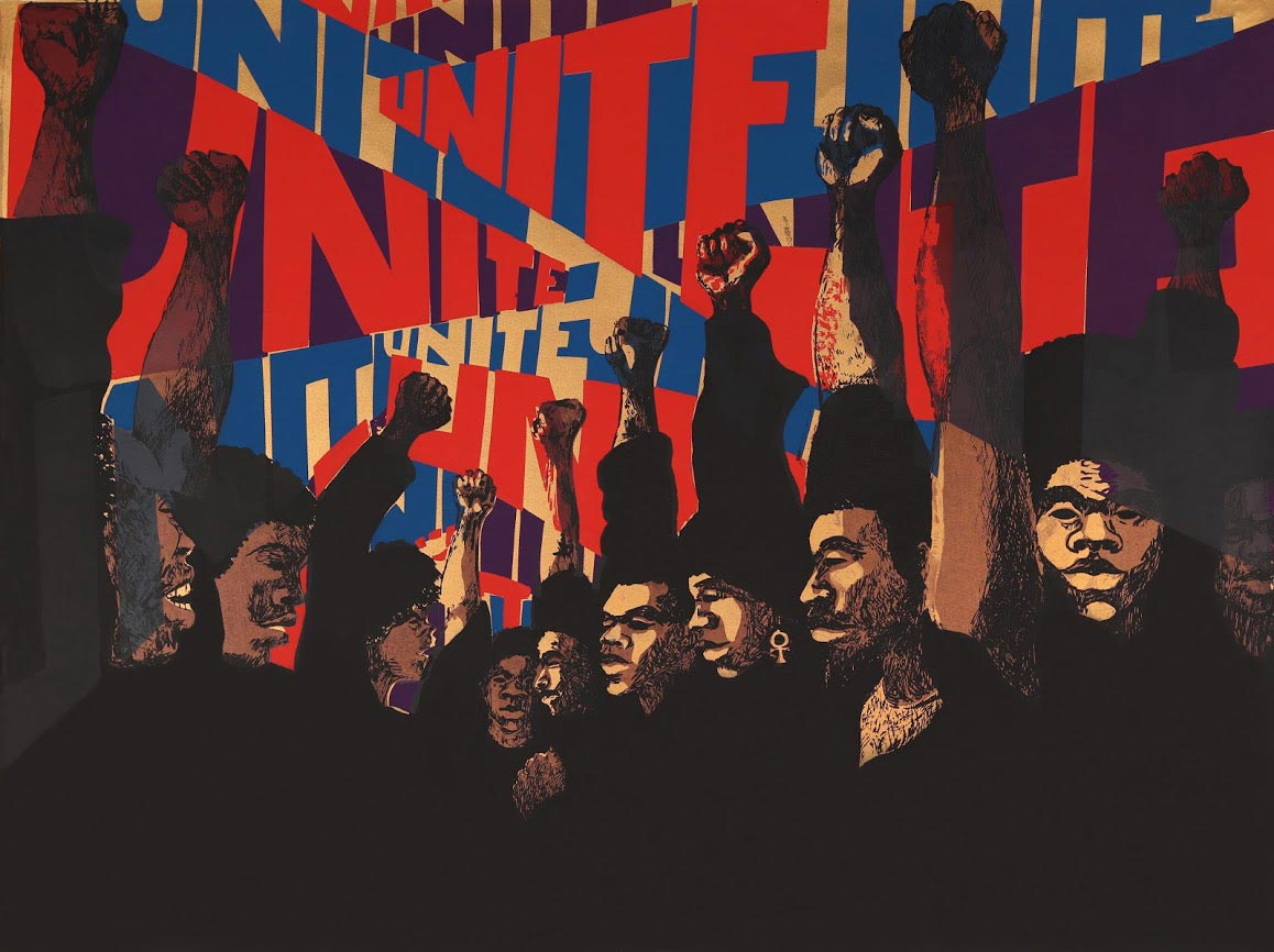 Barbara Jones-Hogu, 'Unite (First State),' 1969 (screenprint); appearing as part of 'Soul of a Nation: Art in The Age of The Black Power Movement' at the de Young Museum in San Francisco, Nov. 9, 2019–March 15, 2020.