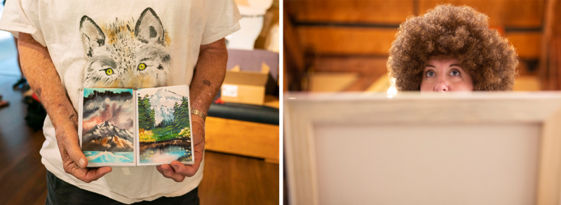 """Left: Cliff Nolan holds a book of his own paintings that he has done in the """"Bob Ross"""" style. Right: Sara Monteleone, wears a Bob Ross wig while she follows along with Sandra Hill, a Certified Ross Instructor, during the recent painting class."""
