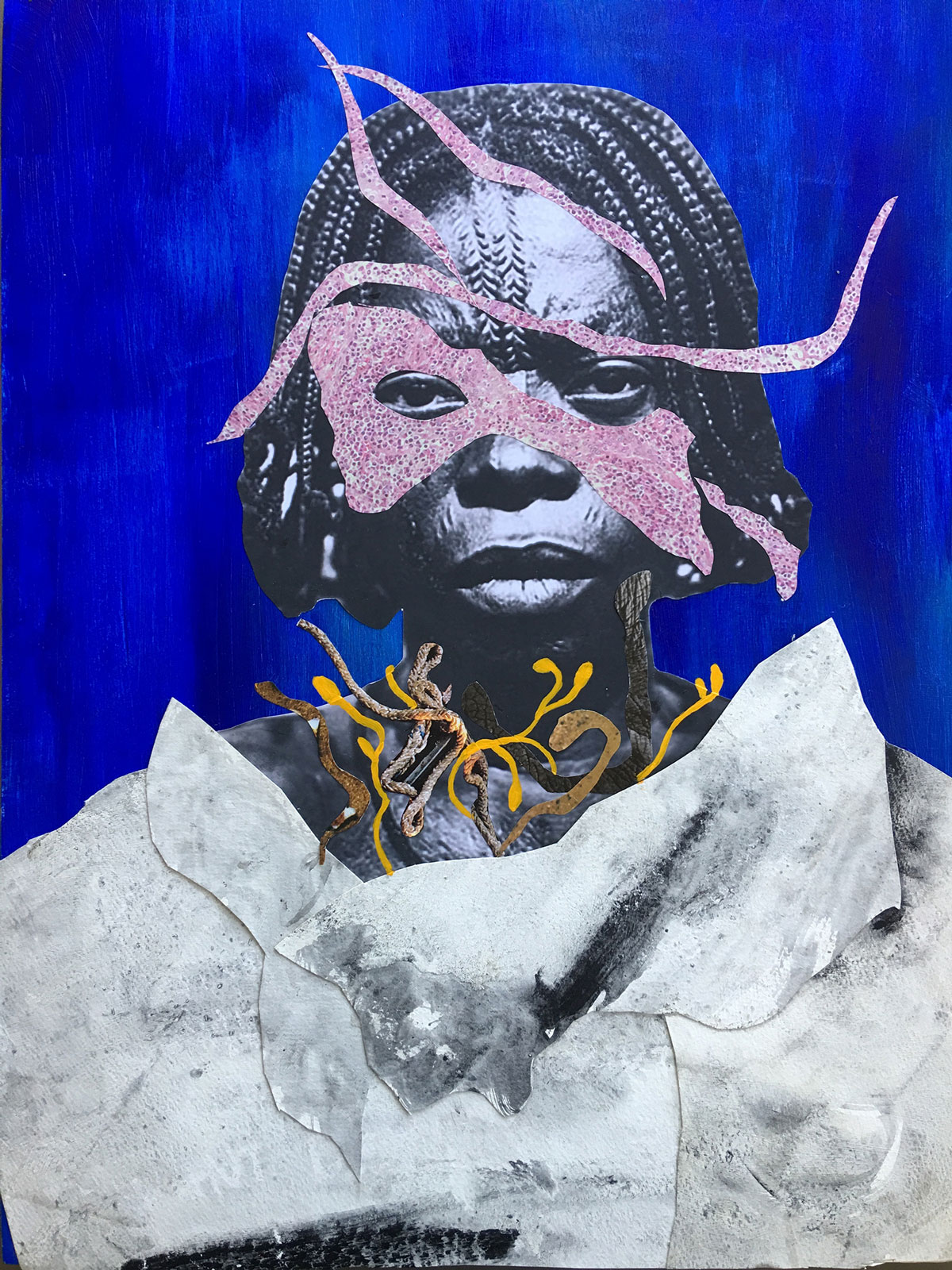 Collage and paint over a black and white photograph of a black woman.