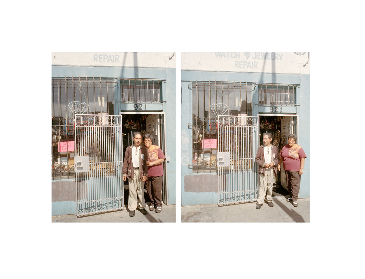 In a photographic diptych, an older couple stands outside a watch and jewelry repair shop.
