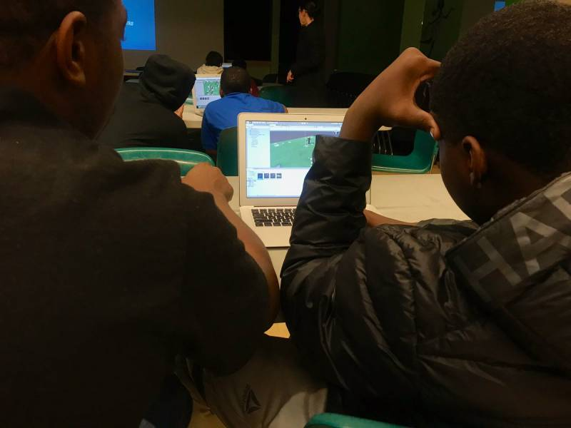 At the West Oakland Youth Center, young people making video games with assistance from the Hidden Genius Project and The David Glover Digital Technology Center.