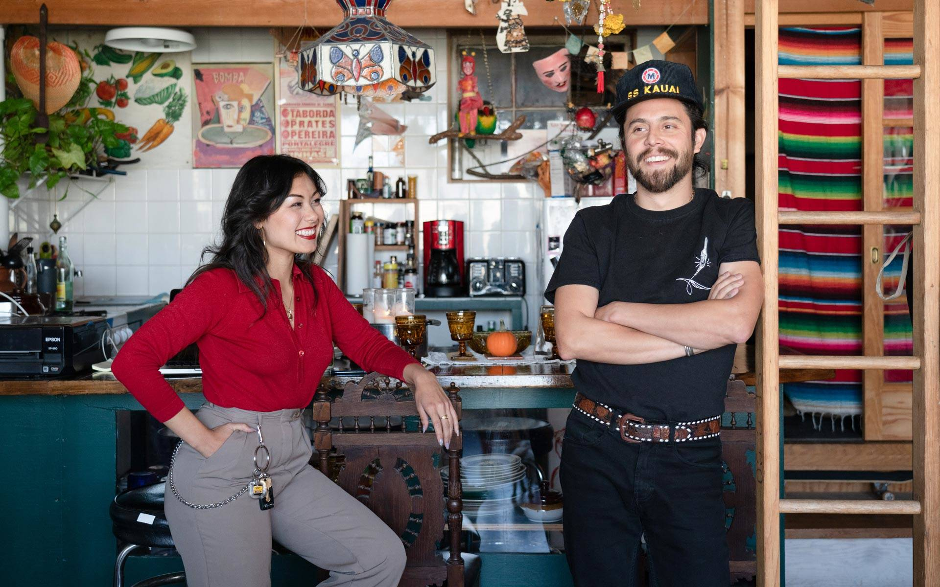 Lauren D'Amato and Isaac Avila in their Bernal Heights live/work space. With multiple jobs, the couple lives on $2,000–$5,000 a month. Graham Holoch/KQED