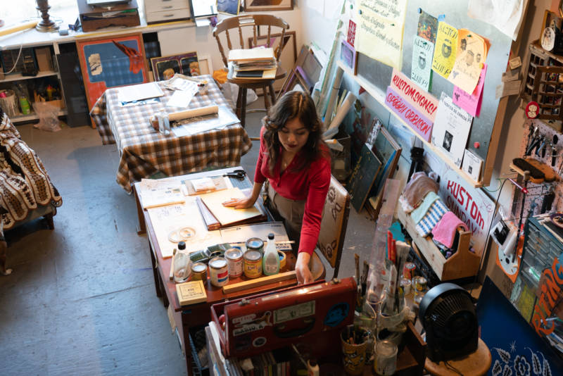 Lauren D'Amato in the Bernal Heights live/work space she shares with Isaac Avila.