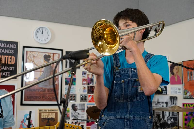 Oliver Tuttle, the student performer you hear playing the trombone in this week's episode.