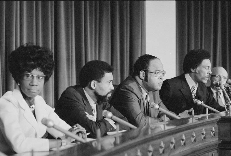 Rep. Shirley Chisholm was a co-founder of the Congressional Black Caucus. She's shown here in 1971 with caucus members Bill Clay (from left), Charles Diggs, Ron Dellums and Augustus F. Hawkins.