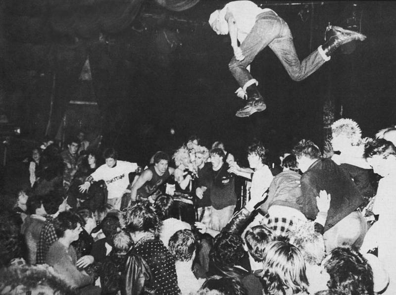 A stagediver at a GBH show in the early 1980s.